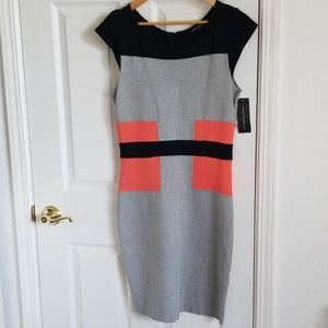 French connection grey/black midi dress size 12